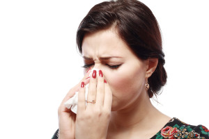 young woman with a sinus infection
